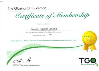 Certificate of Membership in the Glazing Ombudsman for Exmoor Fascias